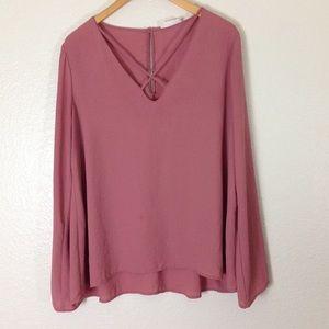 Lush Blouse Cross Neck Tunic XL Pink Blush